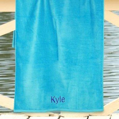 """Personalizado cualquier nombre azul 30 """"X 60 toalla de playa, algodón, tejido"""