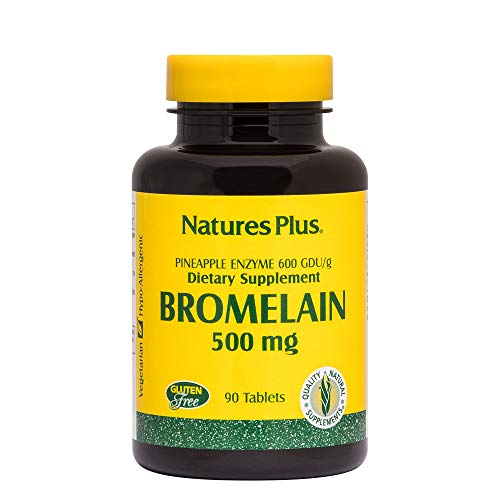 (NaturesPlus Bromelain - 500 mg, 90 Vegetarian Tablets - Natural Proteolytic Enzyme Supplement, Sinus Support, Anti-Inflammatory - Gluten-Free - 90 Servings)