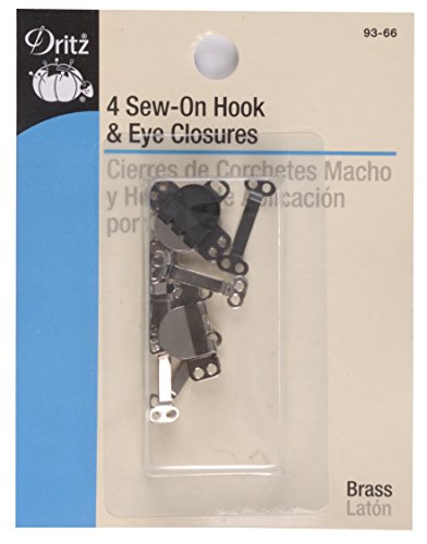 Dritz Sew-On Hook & Eye Closures - Black & Nickel-4 Ct.