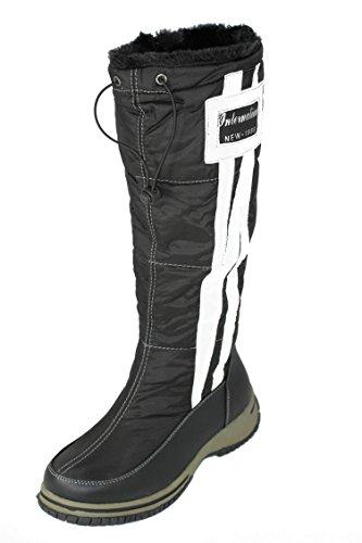 Damen Winterschuhe Boots Damenschuhe Stiefel Outdoor Schuhe mit Kunstfutter W154 Schwarz