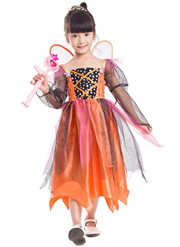 NADAINGAA Girls Pumpkin Fairy Costume Halloween Cosplay Party Fancy Dress (Lable M/5-6 (Halloween Lables)