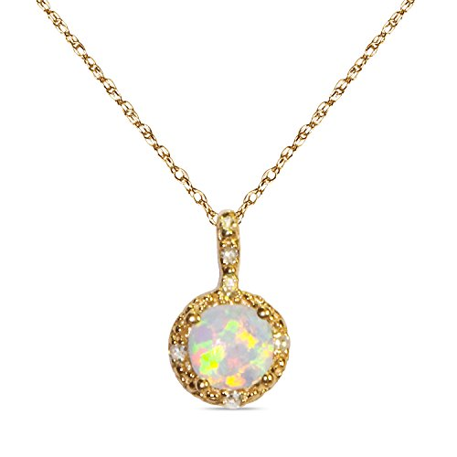 """.025CT Diamond with Created Opal in 10k Yellow Gold in Pendant with Complimentary 18"""" Chain"""