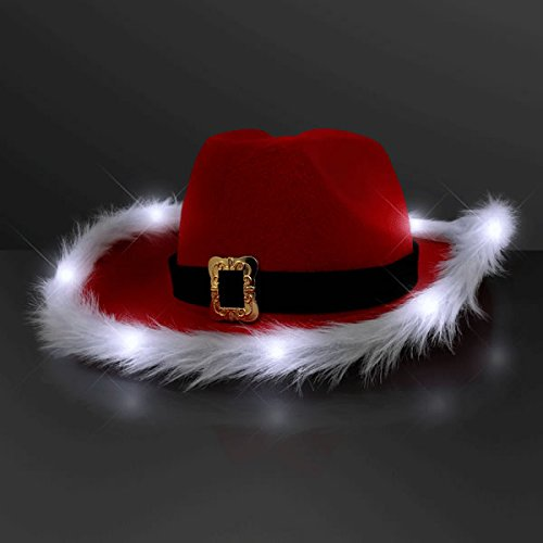 LED Flashing Christmas Cowboy Red Santa Clause Western Holiday Hat by Blinkee (Games Christmas Cutting Tree)