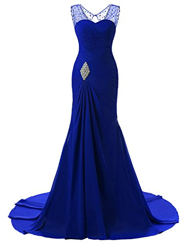 Sweetheart Royal Length Train - Lily Wedding Womens Mermaid Prom Bridesmaid Dresses 2018 Long Evening Formal Party Ball Gowns FED003 Royal Blue Size 2