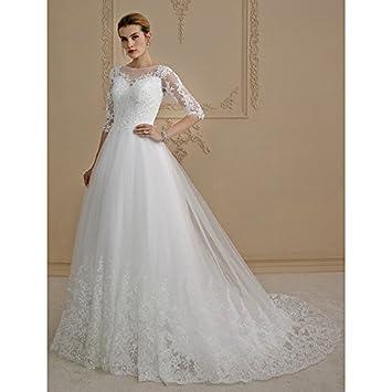 0acf4aa353 kekafu Una línea de tren de Corte princesa ilusión escote en Tul vestido de  novia con