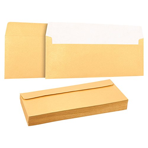 (50 Pack #10 Gold Business Envelopes - Value Pack Square Flap Envelopes - 4 1/8 x 9 1/2 Inches - 50 Count, Gold)