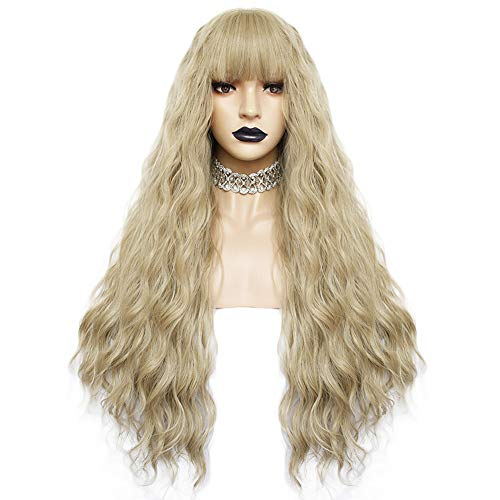 Anogol Hair Cap+Blonde Wig for Gothic Lolita Wigs Long Body Wave Wigs with Bangs for Lolita Cosplay Wig -