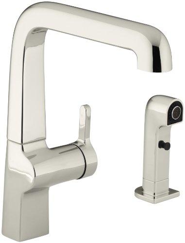 KOHLER K-6334-SN Evoke Single Control Kitchen Sink Faucet with Sidespray, Vibrant Polished (Kohler Evoke Single)