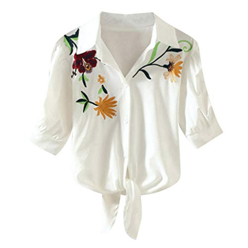Women's Shirt Casual Flower Print Embroidery Blouse Loose Striped Shirt Yellow