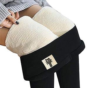 Denise Lamb Legging Doublé en Polaire Thermique pour Femme,Pantalon Chaud d'hiver À Taille Haute, Legging Surdimensionné…