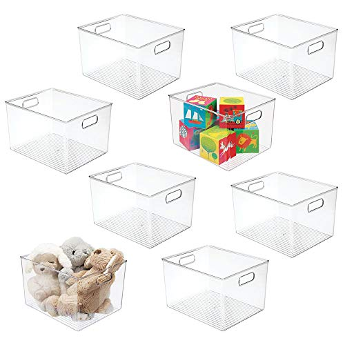 "mDesign Deep Plastic Home Storage Organizer Bin for Cube Furniture Shelving in Office, Entryway, Closet, Cabinet, Bedroom, Laundry Room, Nursery, Kids Toy Room - 12"" x 10"" x 8"" - 8 Pack - Clear"