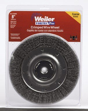 "Weiler Vortec Pro Wide Face Wire Wheel Brush, Round Hole, Carbon Steel, Crimped Wire, 8"" Diameter, 0.014"" Wire Diameter, 5/8"" Arbor, 1-3/8"" Bristle Length, 1"" Brush Face Width, 6000 rpm from Weiler"