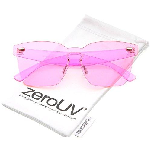 zeroUV - Oversize Rimless Keyhole Nose Bridge Mono Lens Horn Rimmed Sunglasses 63mm - Nose Bridge Keyhole