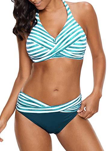 Women's Backless Striped Twist Front Crossed Tankini Halter Swimsuit Retro Bathing Suits 5XL,Sky Blue,4XL]()