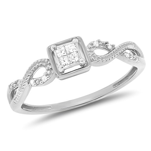 0.11 Carat (ctw) 10k Gold Princess Cut & Round Diamond Infinity Ladies Engagement Promise Ring 1/10 CT - White-gold, Size 5 -