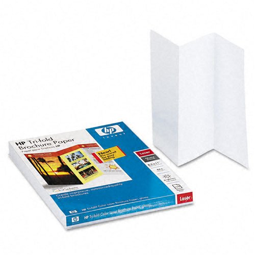 (HP : Tri-Fold Color Laser Brochure Paper, Glossy, 8-1/2 x 11, White, 150 Sheets/Pack -:- Sold as 2 Packs of - 150 - / - Total of 300 Each)