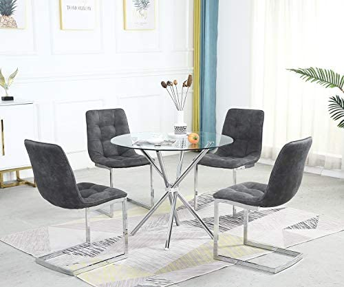 SICOTAS Round Dining Table Set,Modern Kitchen Table and White Chairs,Dining Room Table Set