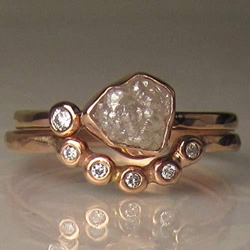 14k Rose Gold Raw Diamond Engagement -