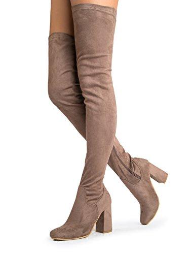 Chunky Heel Stretchy Oberschenkel Hohe Stiefel - Komfortable geschlossene Zehe mit Reißverschluss über dem Knie - Trendy Sexy Wildleder Spitze Runde Schuhe - Karma von J. Adams Taupe Wildleder