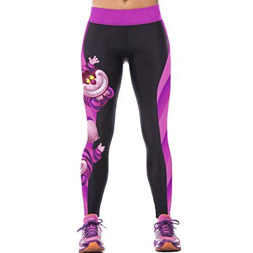 Sasairy señoras de las mujeres de las polainas de Deportes de cuerpo entero pantalones elástico pantalones de las medias No se consideran a través la aptitud de la yoga Entrenamiento Running Wear inco Color-02