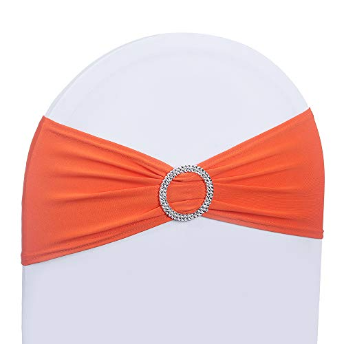 Sash Any Color (LOVWY 20 Colors Optional 50 PCS Spandex Stretch Chair Sashes Bows for Wedding Party Engagement Event Birthday Graduation Meeting Banquet Decoration (50 PCS, Orange))