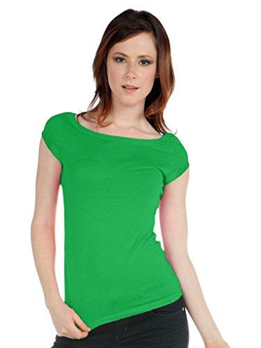 Kavio! Junior Boat Neck Cap Sleeve Top Kelly Green (Green Womens Cap Sleeve T-shirt)