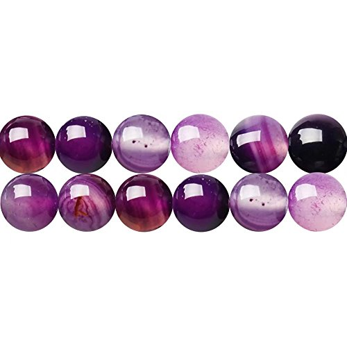 Purple Striped Agate Gemstone Round 10mm Beads for DIY Fashion Necklace Bracelet Earrings Jewelry Gift Craft Making Supplies One Strand 15 Inch Apx 35 Pcs (Beads Agate Round Necklace)