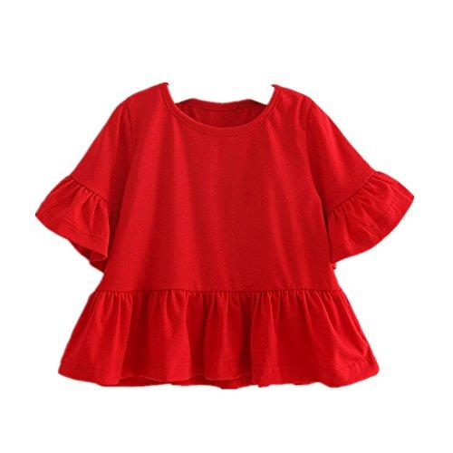 FTSUCQ Girls Medium Flare Sleeve Red Shirt Top,110