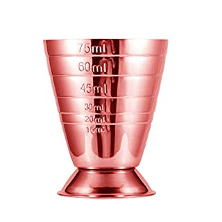 BarSoul Copper Stainless Steel Measuring Cup Bar Jigger with 3 Measurments Up to 2.5oz,5Tbsp,75ml