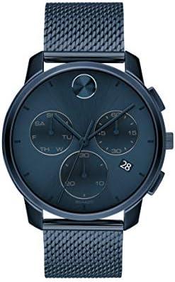 Movado Men's Swiss Quartz Watch with Stainless Steel Strap, Blue, 21 (Model: 3600633)