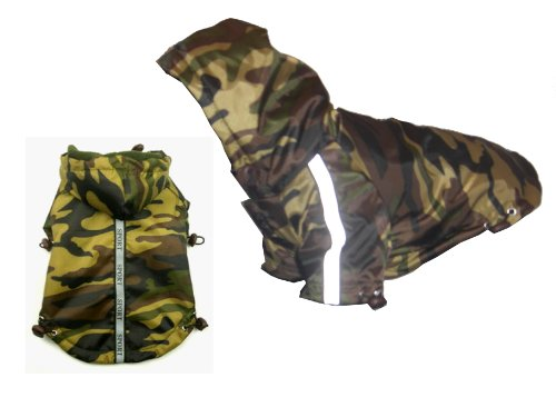 PET LIFE 'Reflecta-Sport' Fashion Insulated Adjustable and Reflective Windproof Water-Resistant Pet Dog Coat Jacket Rainbreaker w/ Removable Hood, Small, Camouflage