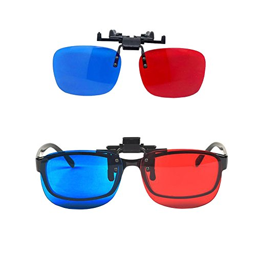 Red-Blue/Cyan Anaglyph 3D Clip-on Glasses with Box Case Glasses for 3D TV 3D Movie Game Clip Glasses