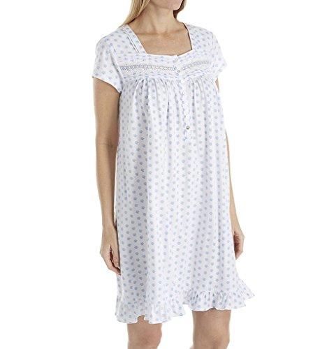 Eileen West Blue Spring Floral Short Jersey Nightgown (5019865) S/White Ground Blue Geo -