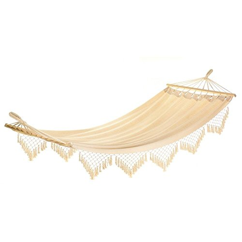 Hammocks, Cape Cod Canvas Hanging Swing Beach Hammock, Cotton Metal Wood by Summerfield Terrace