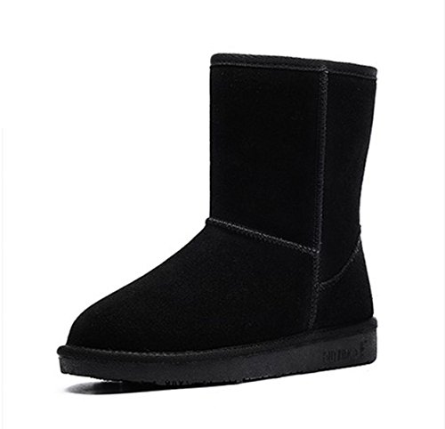 Snow Boots Women New Leather Warm Snow Shoes In The Tube Flat Female Boots Black a5IvhnGMW