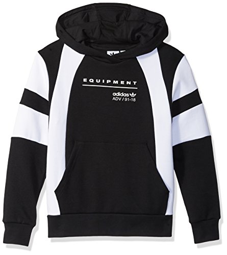 (adidas Originals Big Kids Originals EQT Hoodie, Black/White, L)