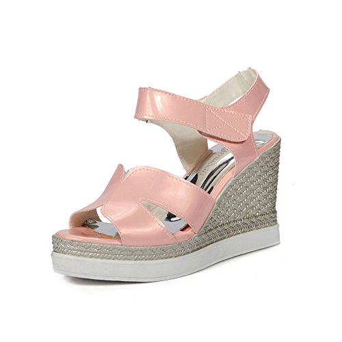 BalaMasa Womens Sandals Peep-Toe Cushioning Smooth Leather Road Outdoor Sandals ASL04689 Pink K6rGoSRvZA