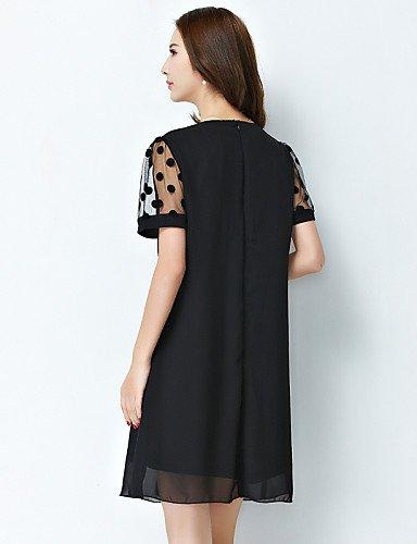 PU&PU Robe Aux femmes Gaine Simple,Couleur Pleine Col Arrondi Au dessus du genou Polyester , black-m , black-m