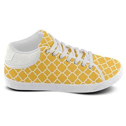 Artsadd Sunny Yellow White Quatrefoil Classic Pattern Chukka Canvas Shoes For Women(Model003) nLmVSxms6