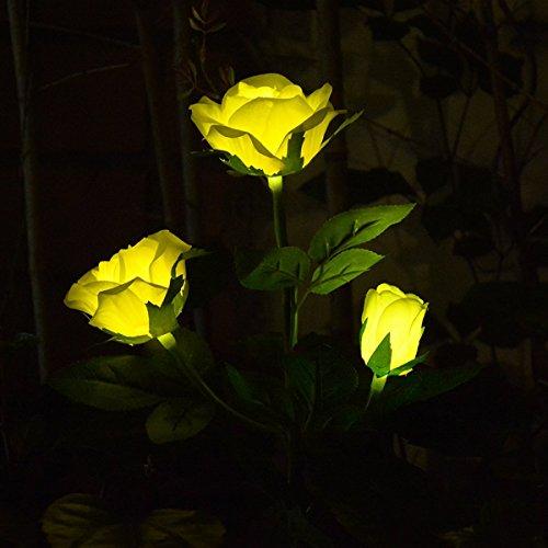 Chasgo Solar Garden Light Outdoor Decorative Solar Rose Flower Stake Light for Garden Decor, Yard Decor, Grave Cemetery Flower Decor, Yellow Rose Flower