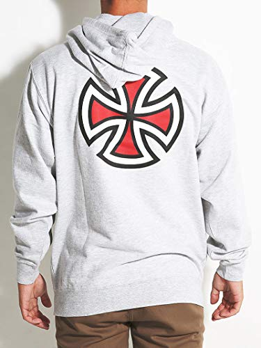 Independent Trucks Painted Bar/Cross Pullover Hooded Sweatshirt - Men's Grey Heather, - Skate Independent