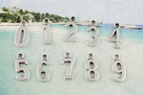 40 Pcs Tibetan silver metal assorted number charms