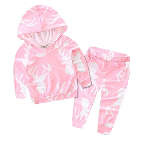 FEITONG 1Set Newborn Infant Baby Boy Girl Hoodie Tops+Pants Outfits Clothes (24 Months, Pink (Mickey Mouse Halloween Costume 24 Months)