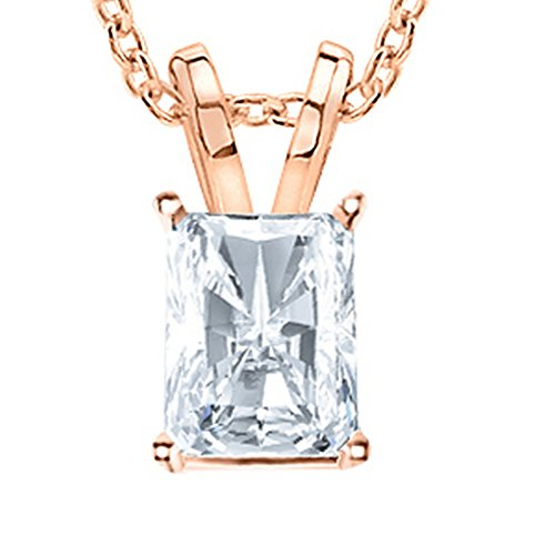 0.5 Carat 14K Rose Gold Radiant Diamond Solitaire Pendant Necklace G Color SI1 Clarity, w/ 16