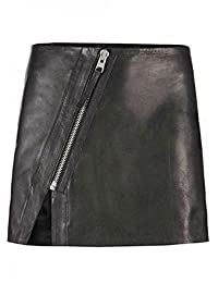 Estek Sports Luxury Genuine Lamb Skin Leather Lady Women Mini Skirt with a Diagonal Zip at The Front ES502