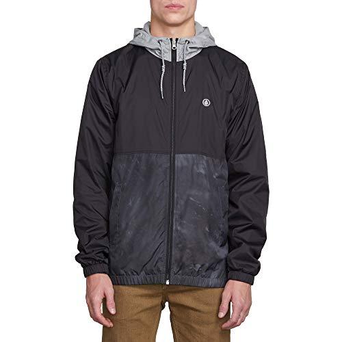 Volcom Men's Volco Ermont Hooded Windbreaker Jacket, Black Combo, Large