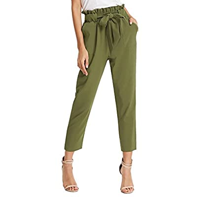 GRACE KARIN Women's Cropped Paper Bag Waist Pants with Pockets at Women's Clothing store