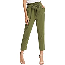GRACE KARIN Women's Fashion High Waist Pencil Trouser Skinny Pants with Belt L AF1011-3