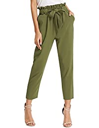 f4c948fdc4a Women s Pants Trouser Slim Casual Cropped Paper Bag Waist Pants with Pockets