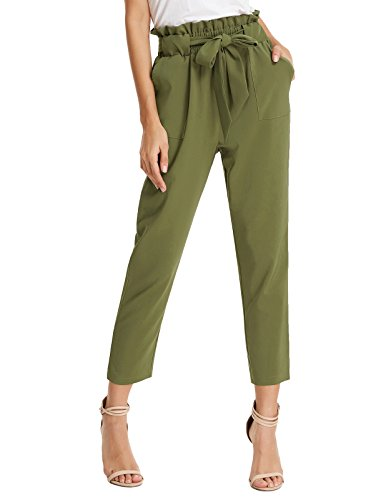 Women's Simple Solid Ruffle Tie Waist Pants with Pockets M Army Green